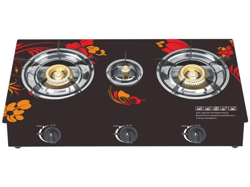 YD-GCG313 3 Burner Glass Top Gas Cooker
